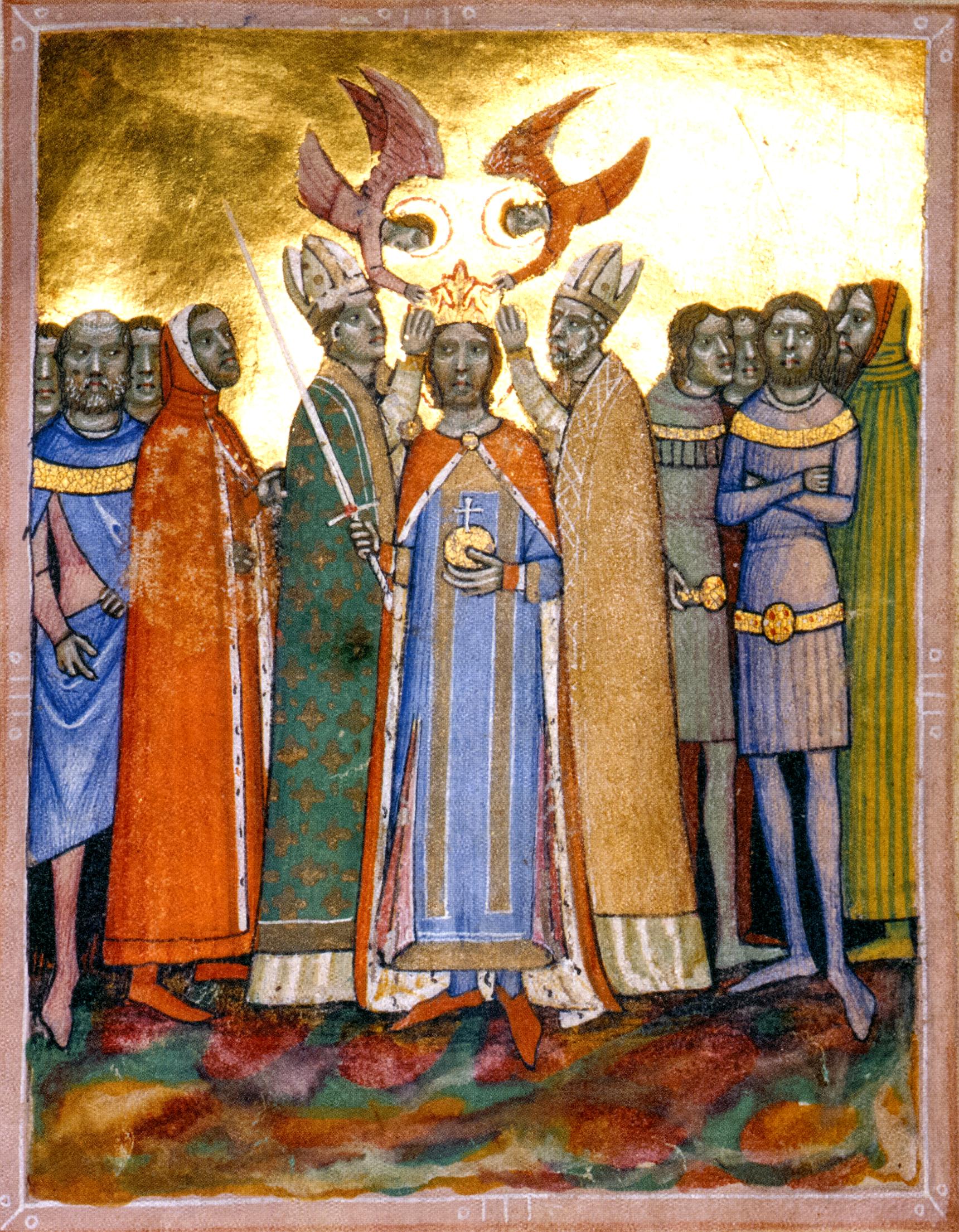 Den guddommelige kroningen av kong Ladislas, bokmaleri (før 1360), fra Chronicon Pictum, i Nasjonalbiblioteket Széchényi i Budapest