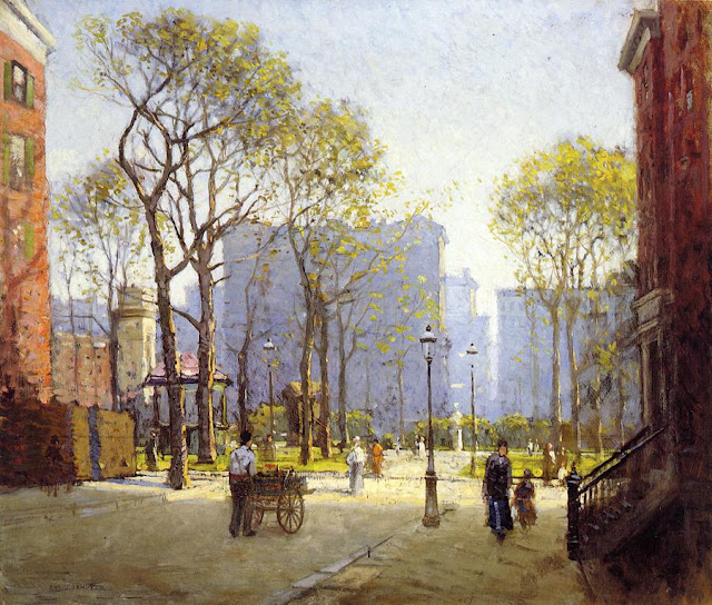 File Late Afternoon Washington Square Artist Paul Cornoyer