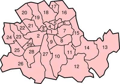 Die Stadtbezirke der County of London