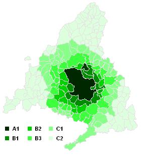 Communes de l 39 abonnement de transport de madrid wikimonde for Zone commune