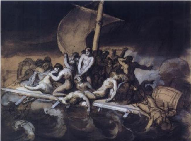 Étude préparatoire figurant une scène de cannibalisme sur le radeau.