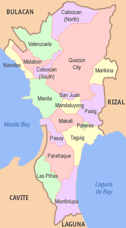 Map of Metro Manila showing the cities and municipalities.