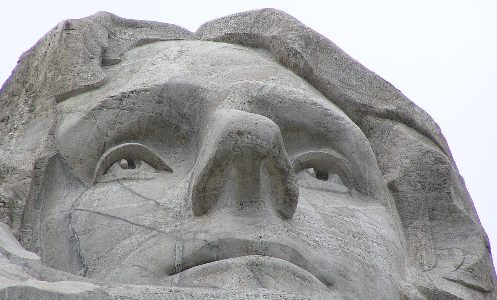 Close up photo of Thomas Jefferson on Mount Rushmore