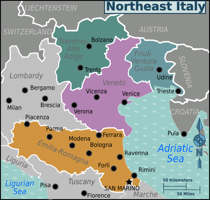 Map Of North East Italy.Northeast Italy Travel Guide At Wikivoyage