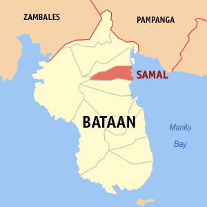 Map of Bataan showing the location of Samal