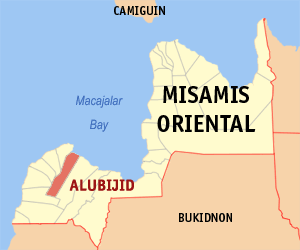 Map of Misamis Oriental showing the location of Alubijid