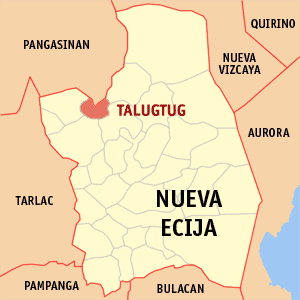 Map of Nueva Ecija showing the location of Talugtug