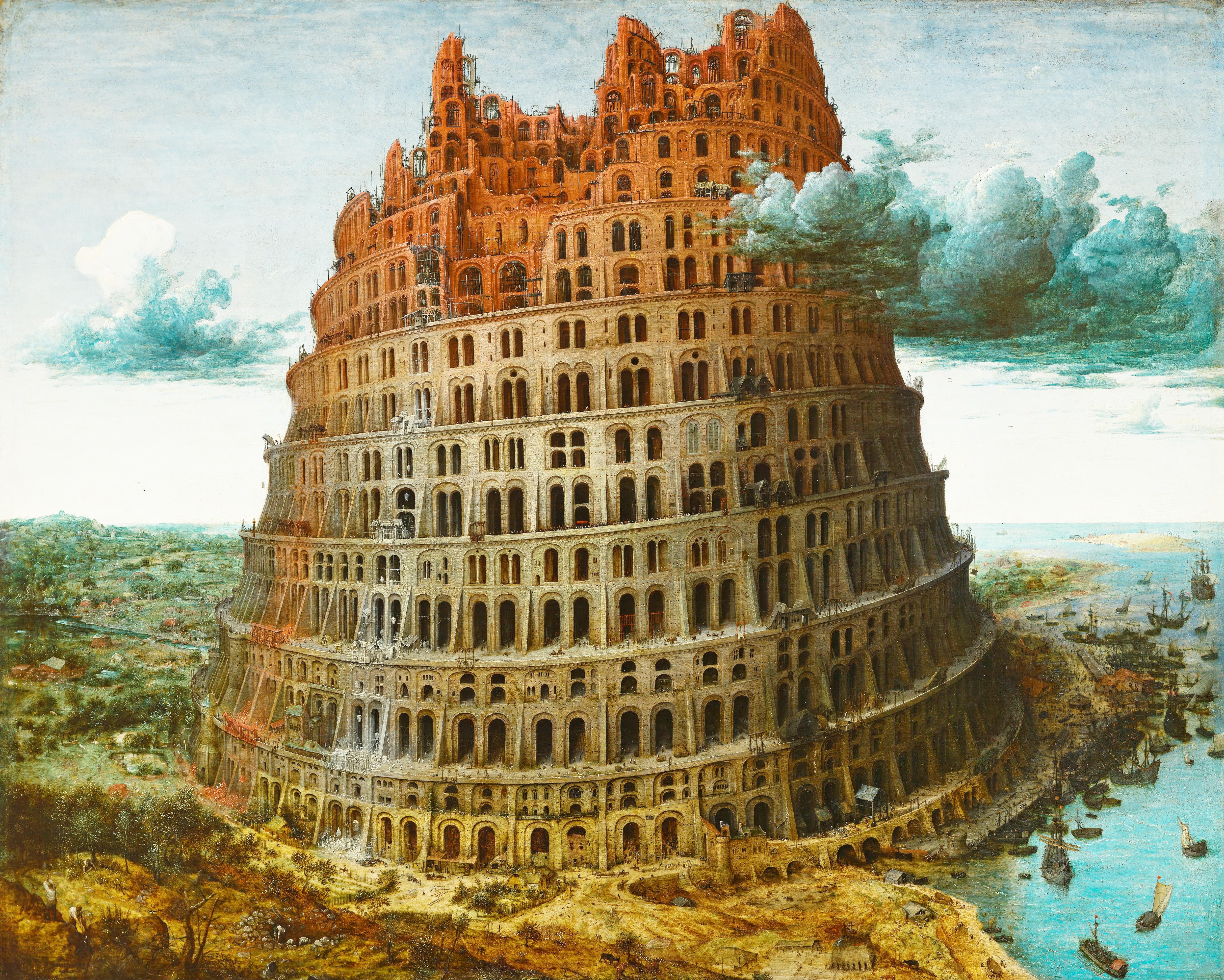 https://en.wikipedia.org/wiki/The_Tower_of_Babel_(Bruegel)#/media/File:Pieter_Bruegel_the_Elder_-_The_Tower_of_Babel_(Rotterdam)_-_Google_Art_Project_-_edited.jpg