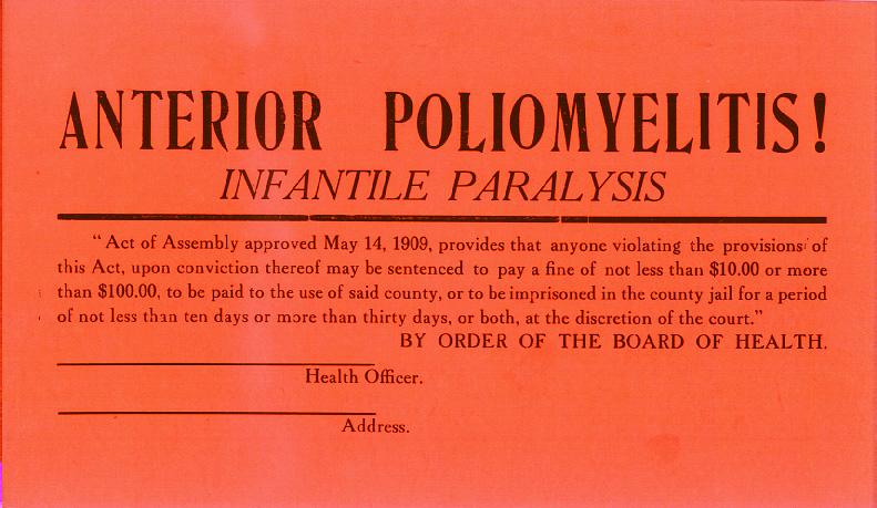 Cartel advirtiendo un edificio donde hay población enferma de poliomielitis. Imagen: National Library of Medicine.