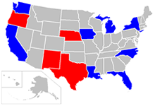 U.S. map with SENSOR-Pesticides states highlighted. California, Florida, Iowa, Louisiana, Michigan, New York, North Carolina, and Washington State are blue; Nebraska, New Mexico, Oregon, and Texas are red.