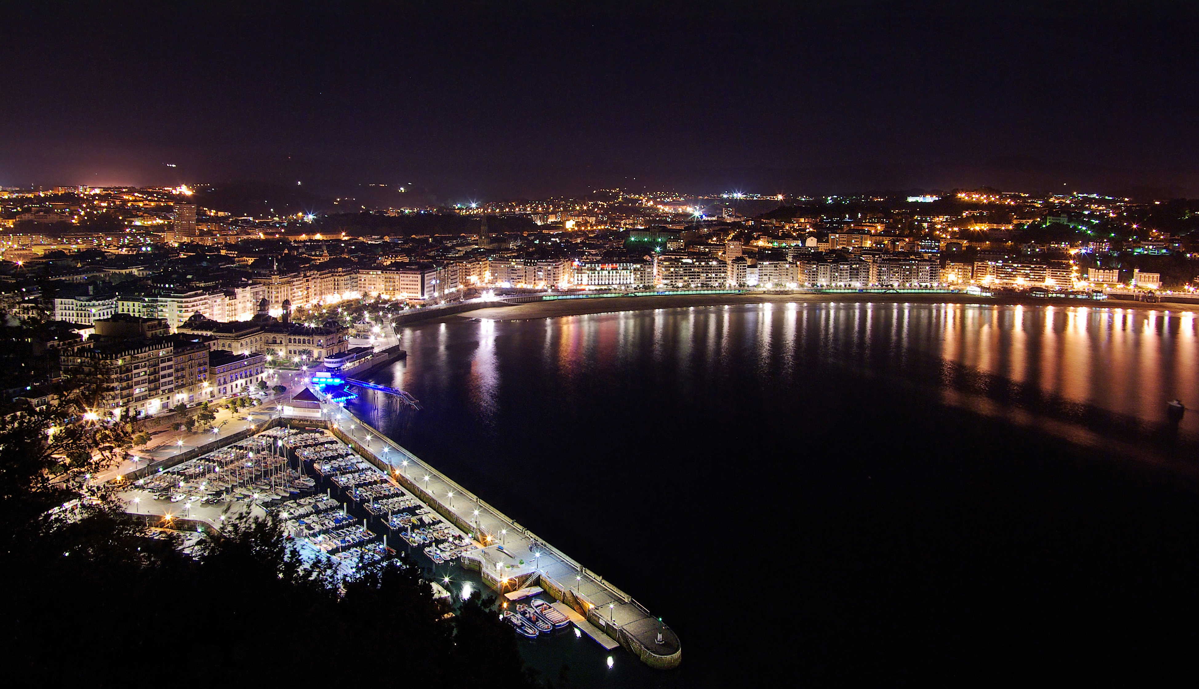 San Sebastián At Night From Urgull
