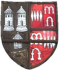 Arms of Sapcote Sable, three dovecotes argent[3] impaling Dinham Gules, four fusils in fess ermine (quartering Arches Gules, three arches argent), Bampton Church, Devon