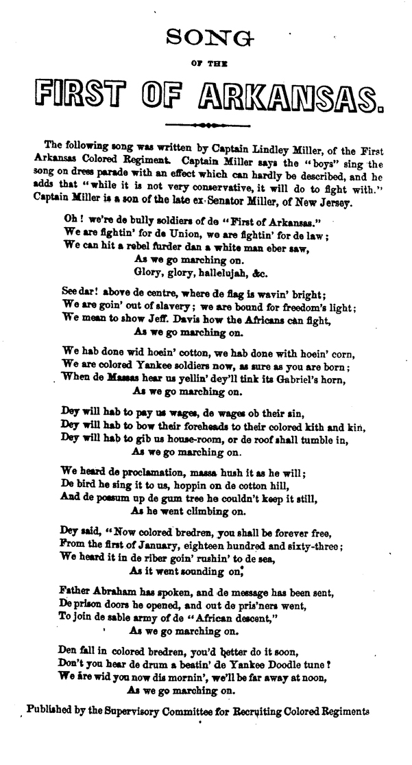 Lyric black lyrics : Marching Song of the First Arkansas - Wikipedia