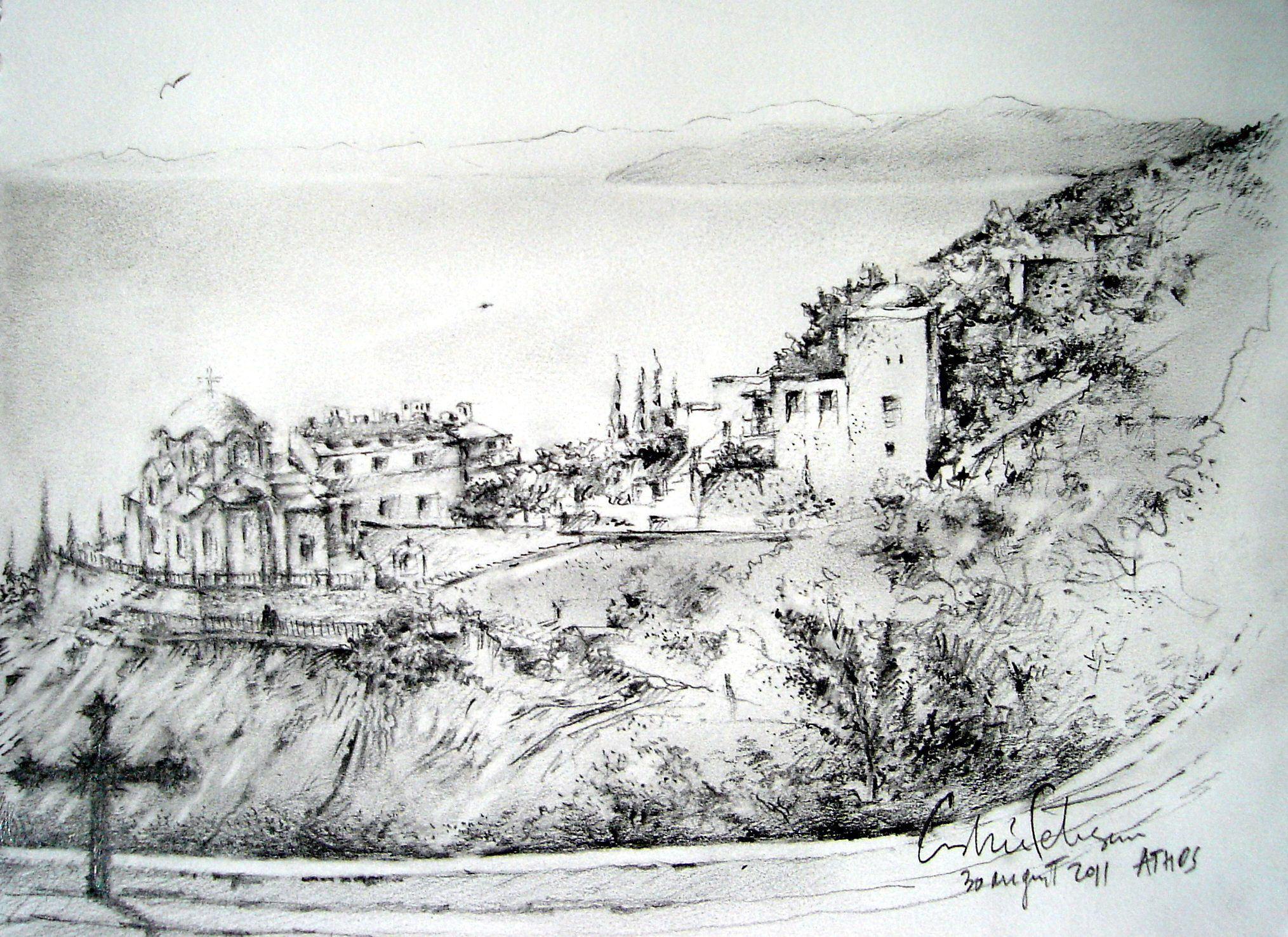Filest george cloister in athos mountain 2011 drawing pencil jpg