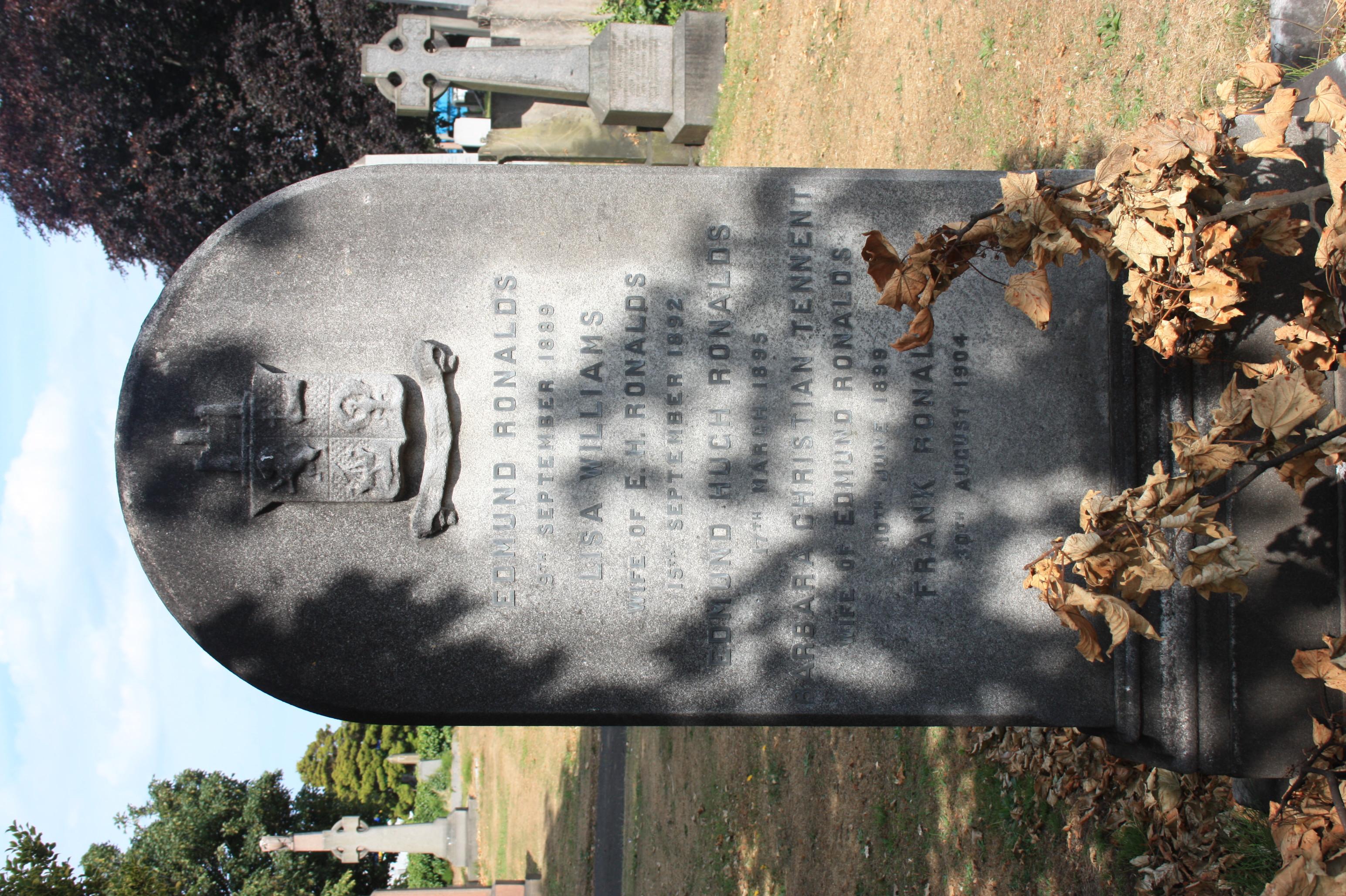 The grave of Edmund Ronalds, Rosebank Cemetery