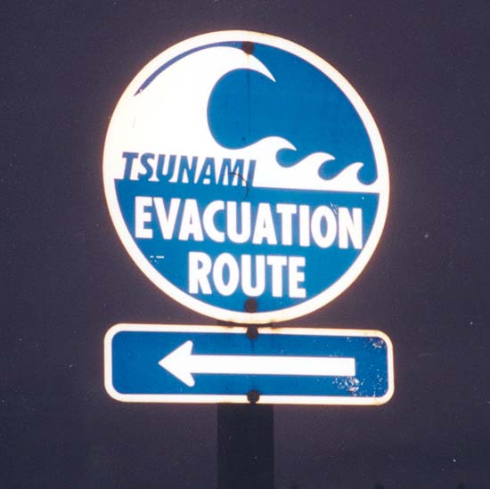 Tsunami Evacuation Route signage south of Aberdeen Washington