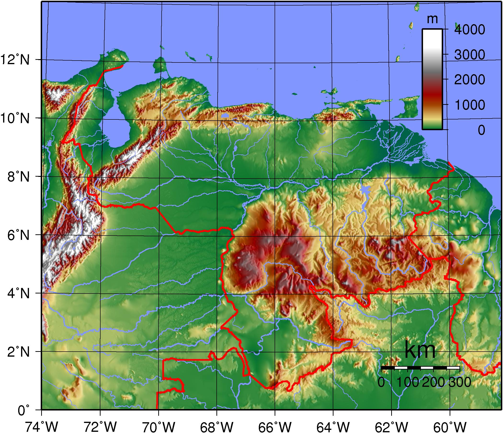 Mapa topográfico de Venezuela.