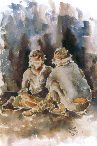 Waiting interrogation, 199th LT INF BG by James Pollock VietnamCombatArtCATJamesPollockWaitingInterrogation.jpg