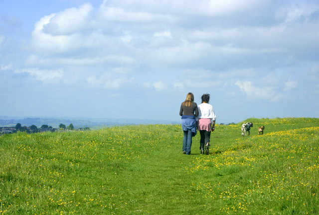 Walking the dogs on Little Solsbury Hill - geograph.org.uk - 818669