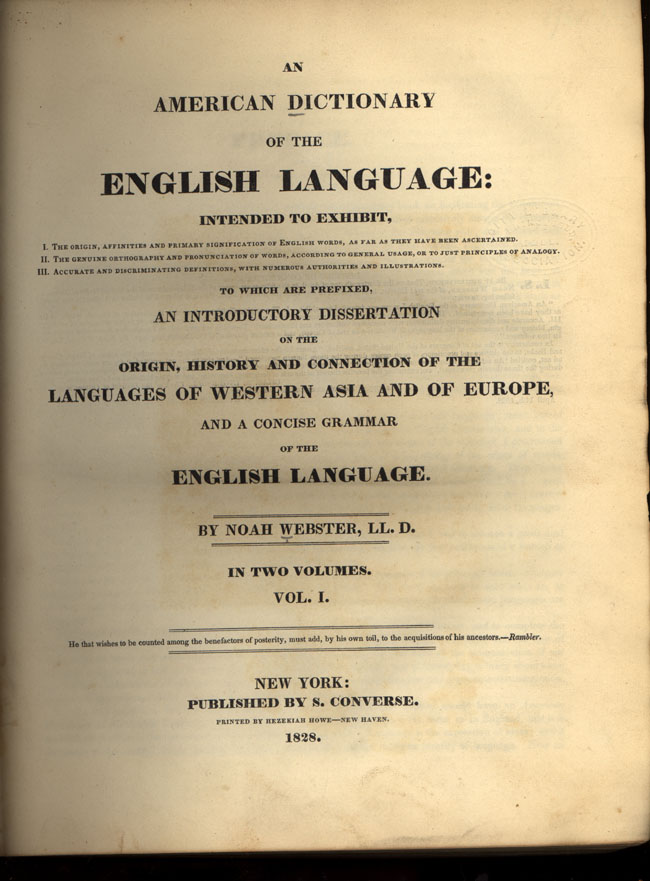 Dictionary of the English Language - Sample Essay