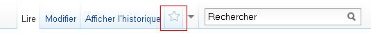 Position de l'étoile de la liste de suivi