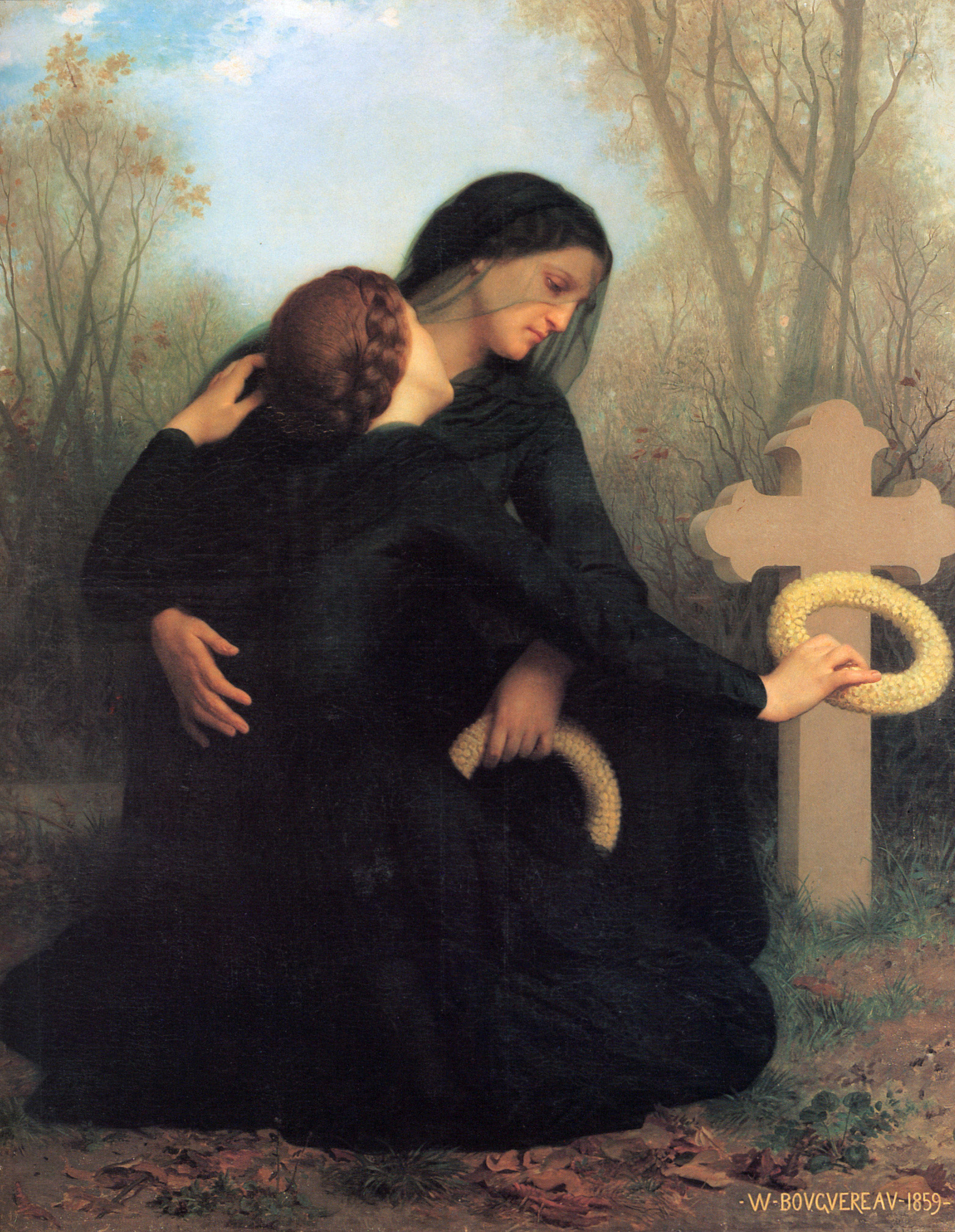 An image of All Soul's Day mourning, the Christian version of the Day of the Dead.