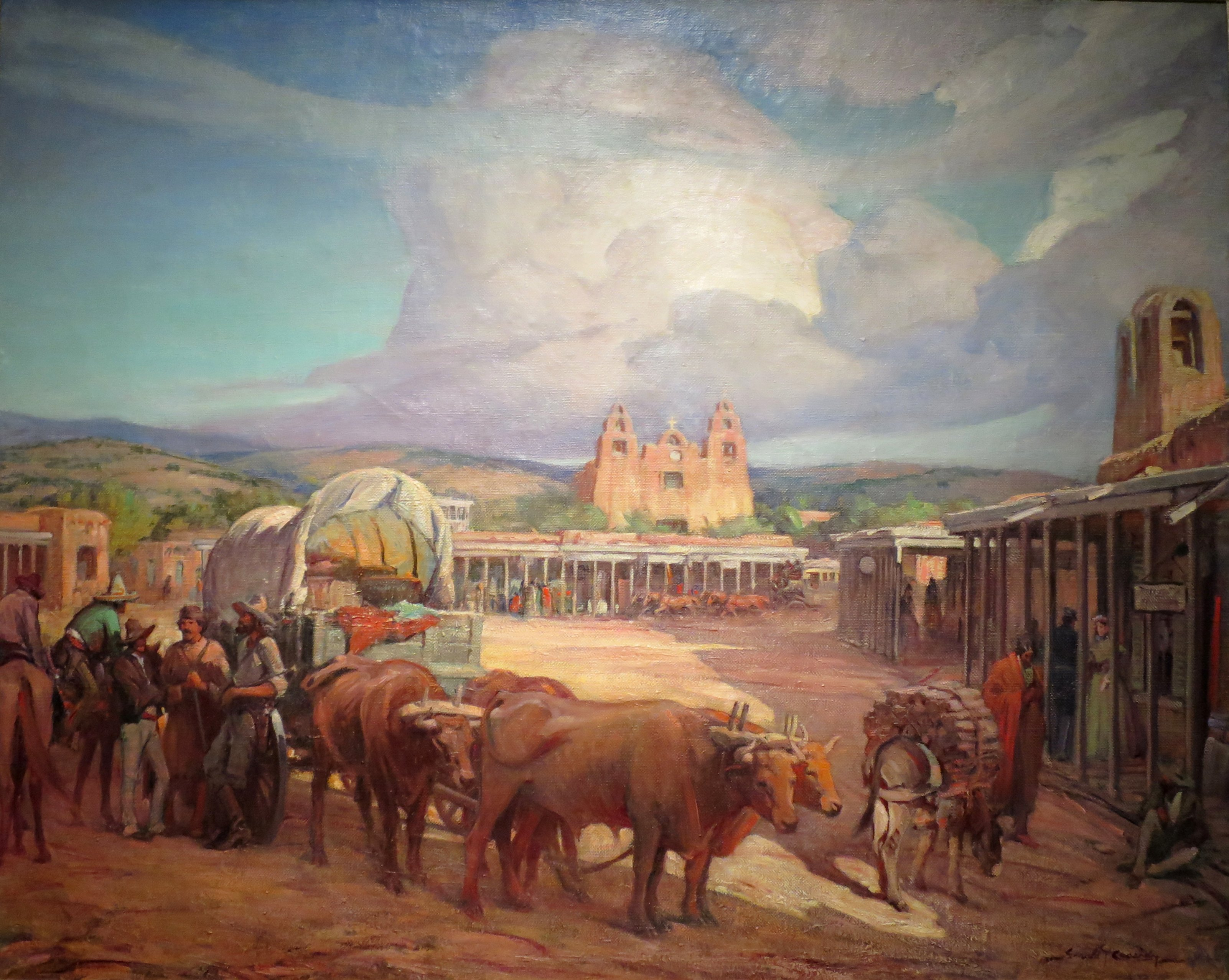 Canvas Santa Fe >> File:'View of Santa Fe Plaza in the 1850s' by Gerald Cassidy, c. 1930.JPG - Wikimedia Commons