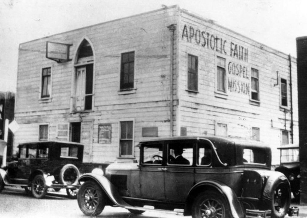 The mission at 312 Azusa Street in 1907, Los Angeles, California, the United States, considered to be the birthplace of Pentecostalism. AFM on azusa street.jpg