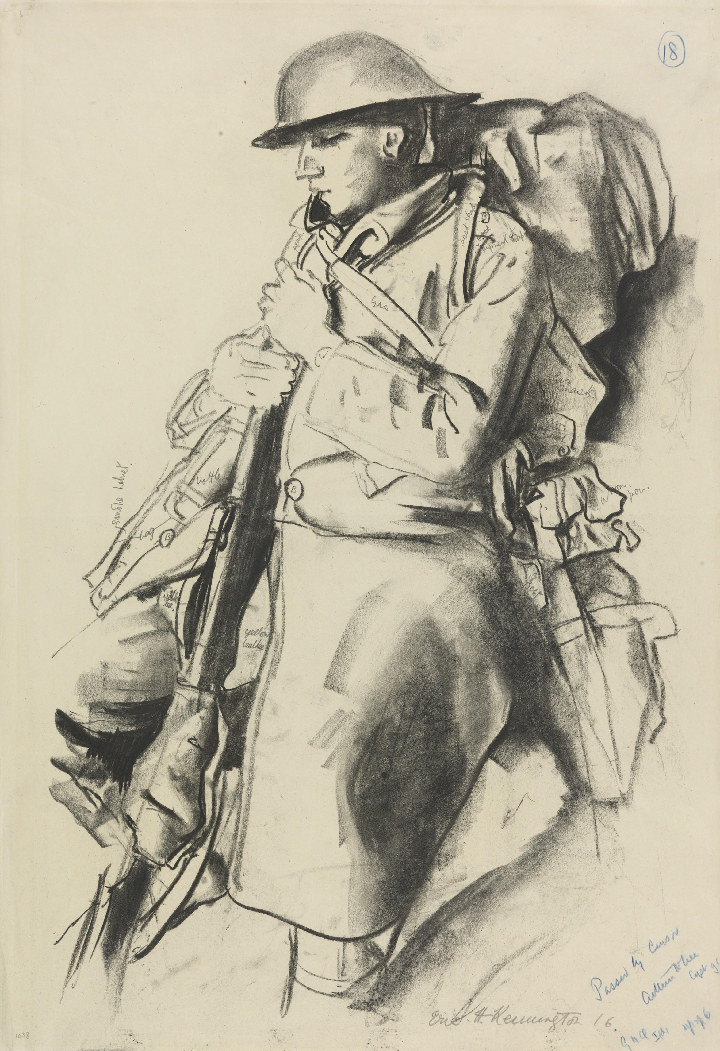 An Infantryman Resting Art.IWMART1038.jpg
