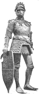 A bronze Arthur plate armour with visor raised and with jousting shield wearing Kastenbrust armour (early 15th century) by Peter Vischer, typical of later anachronistic depictions of Arthur