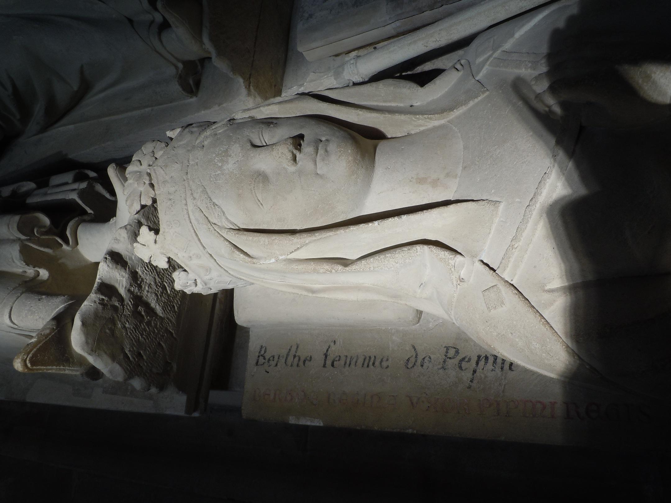Detail of effigy of Queen Bertrada de Laon in the Basilica of Saint-Denis, Paris, France