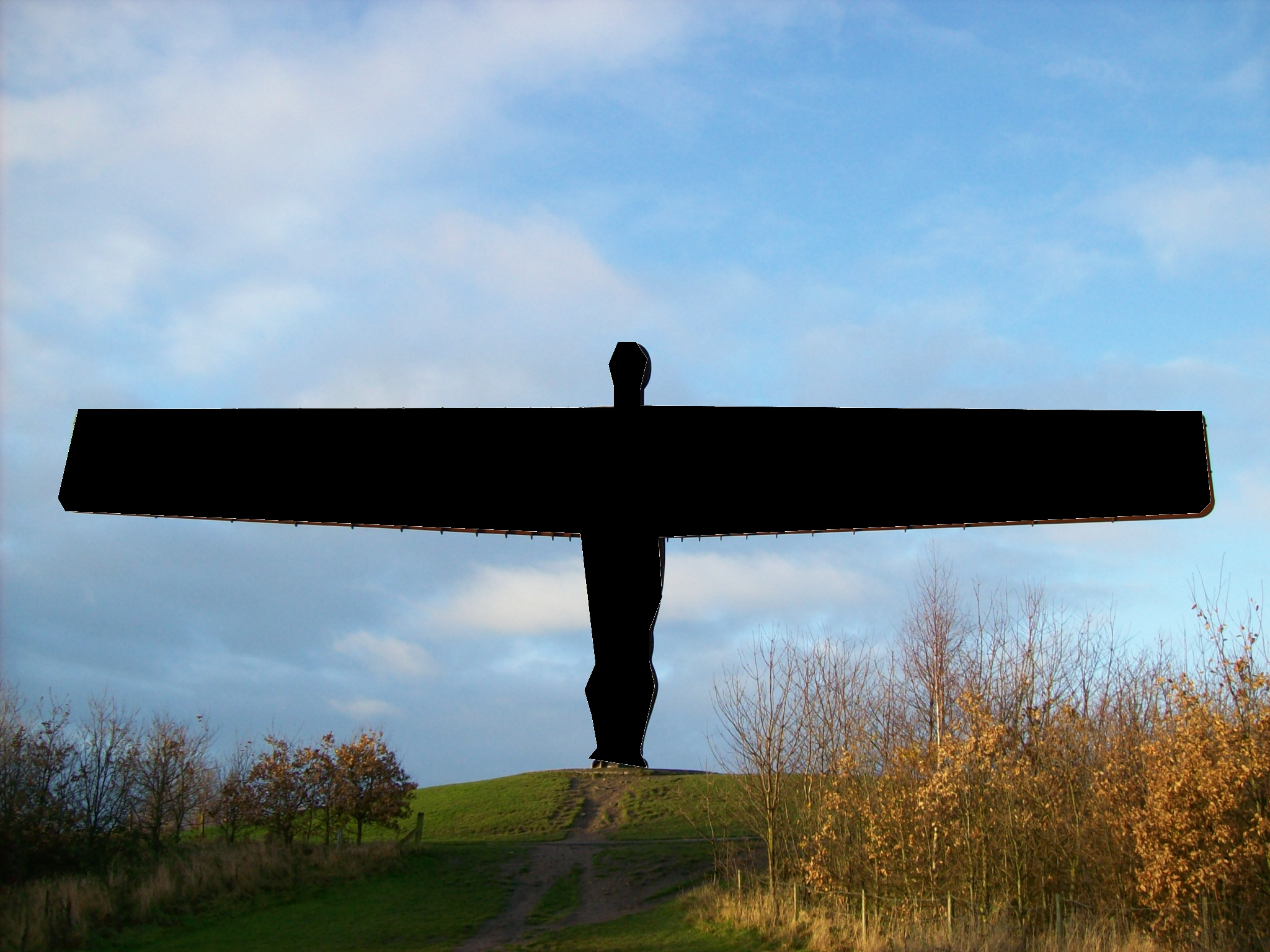 Blacked out Angel of the North, Gormley 5.JPG