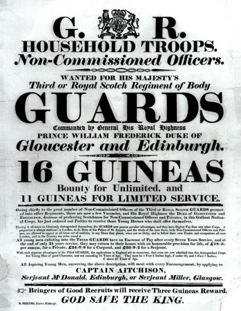 British Army recruitment poster during the Napoleonic wars offering both limited and unlimited (long-term) service
