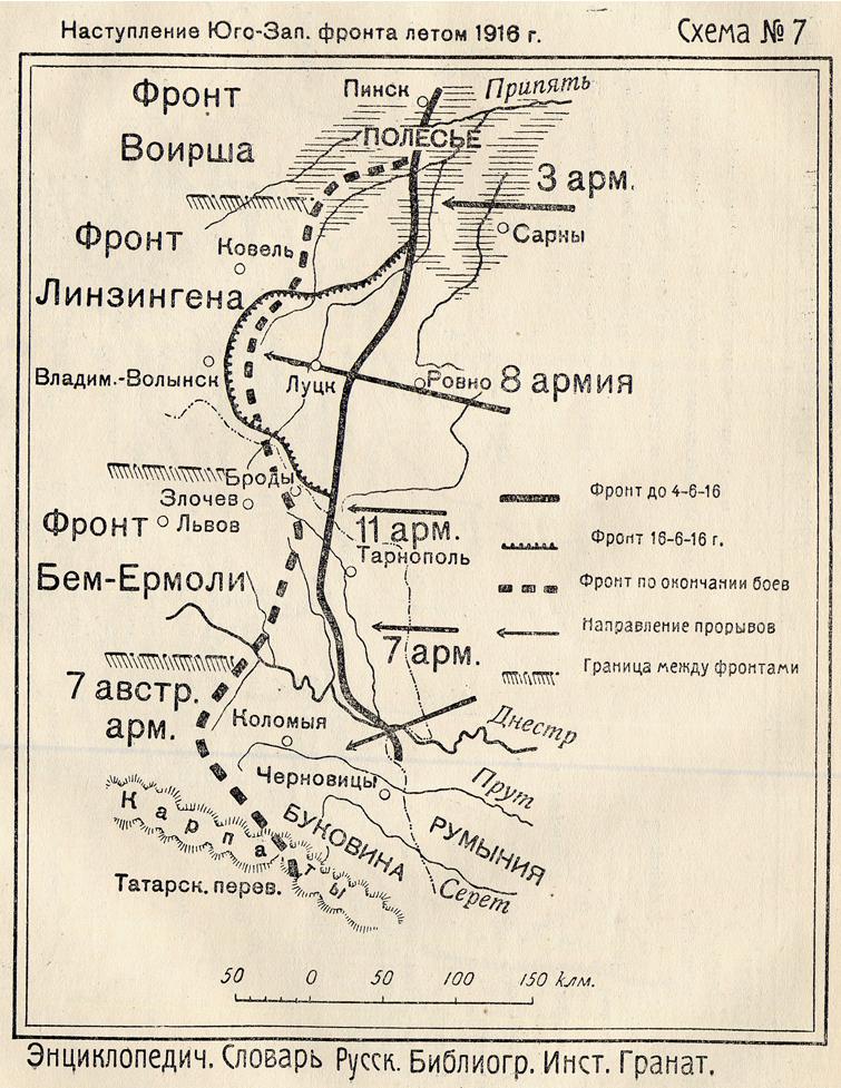 Схема наступления Юго-Западного фронта