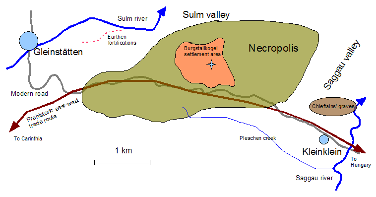 Situation sketch of the Burgstallkogel settlement and its associated necropolis