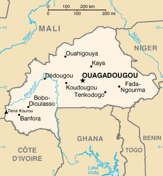 A map showing the major cities of Burkina Faso Burkina Faso map.png