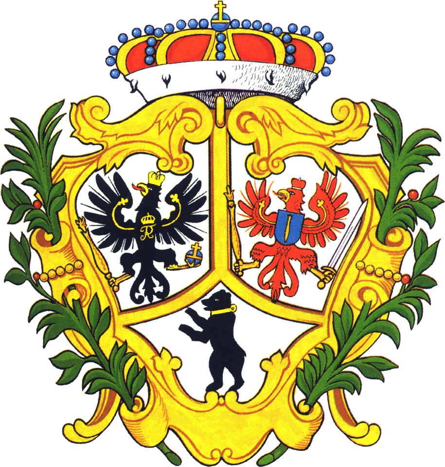 """Redidenzstadt Berlin - Wappen von 1709, aus """"Als der Wappenbär geboren wurde"""" von Heinz Machatscheck, Berlin 1987, ISBN 3-7442-0005-1, S. 49."""