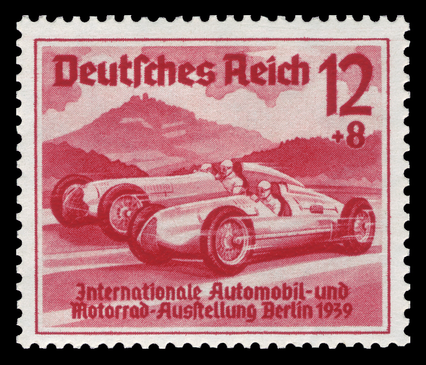Briefmark, DR 1939 687 Automobilausstellung Auto-Union und Mercedes-Benz, Public domain über Wikimedia Commons, eingebettet 07.2014
