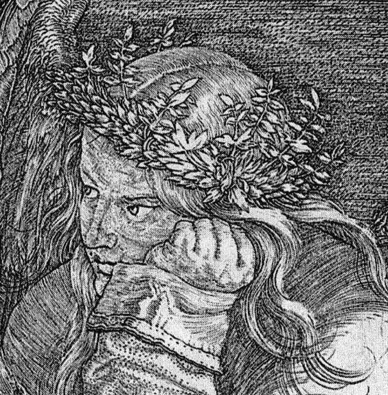 Imagem em preto, branco e tons de cinza de uma jovem vista dos ombros para cima. Ela tem cabelos longos, olhos grandes, nariz afilado e boca carnuda. Usa uma tiara de ramas de folhas em volta da cabeça, que está apoiada na mão esquerda, fechada.