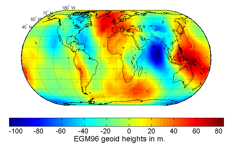 Map of the undulation of the geoid in meters (based on the EGM96 gravity model and the WGS84 reference ellipsoid).[3]