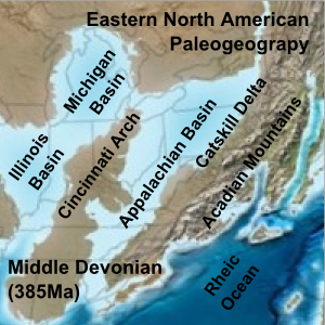 Paleogeographic reconstruction showing the Appalachian Basin area during the Middle Devonian period Eastern North American Paleogeograpy Middle Devonian.png