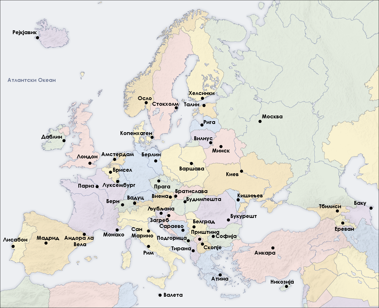 Europe Capital Cities Map - Europe map with cities and countries