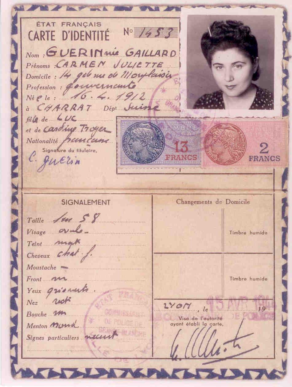 photo de carte d identité File:Fausse carte d'identité d'Esther GORINTIN.   Wikimedia Commons