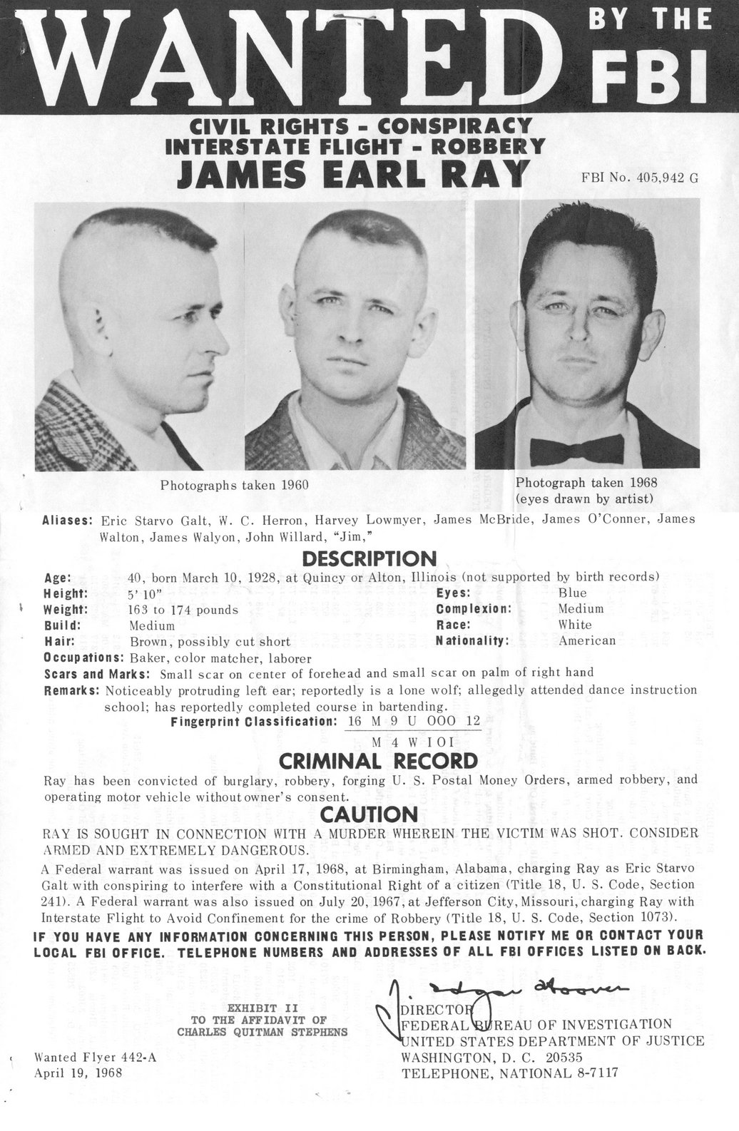 Image result for james earl ray caught on june 8, 1968