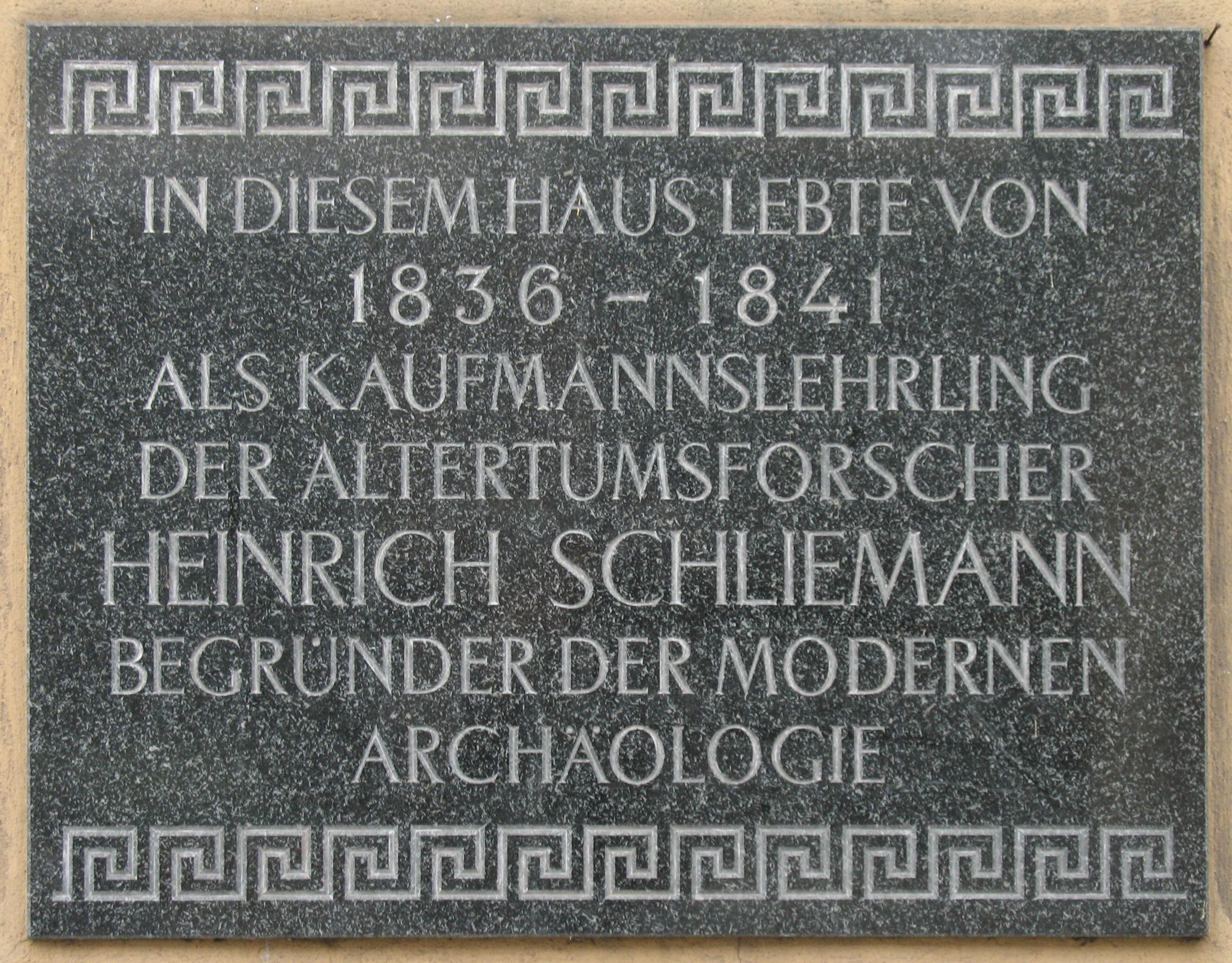 Gedenktafel für Heinrich Schliemann