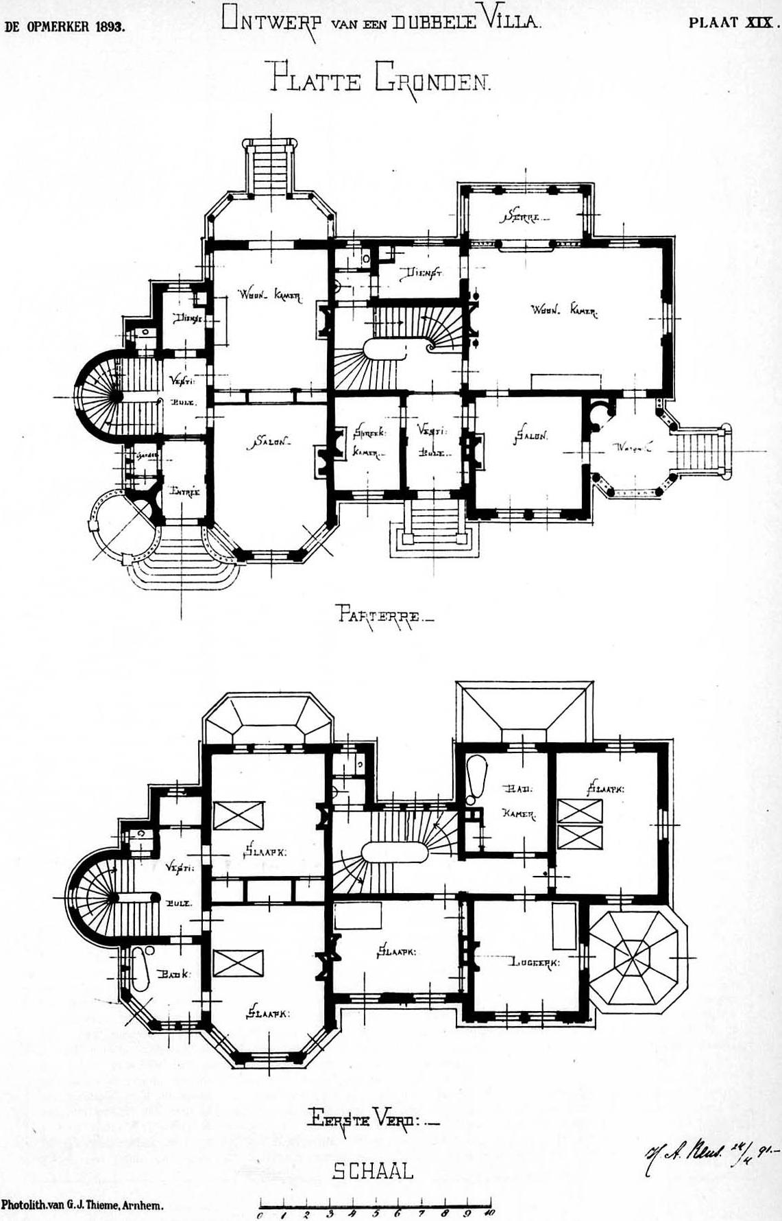 File H A Reus Design For A Double Villa Plan