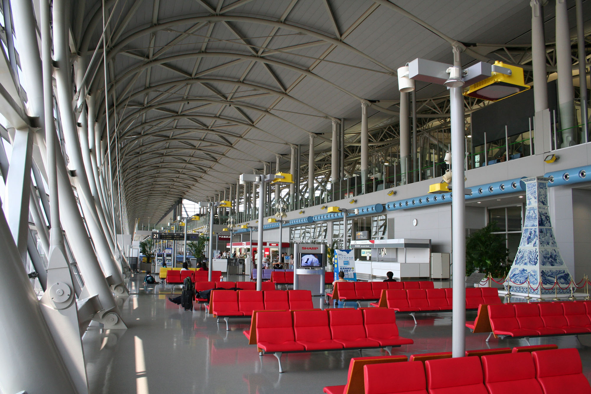The inside view of an airport terminal building