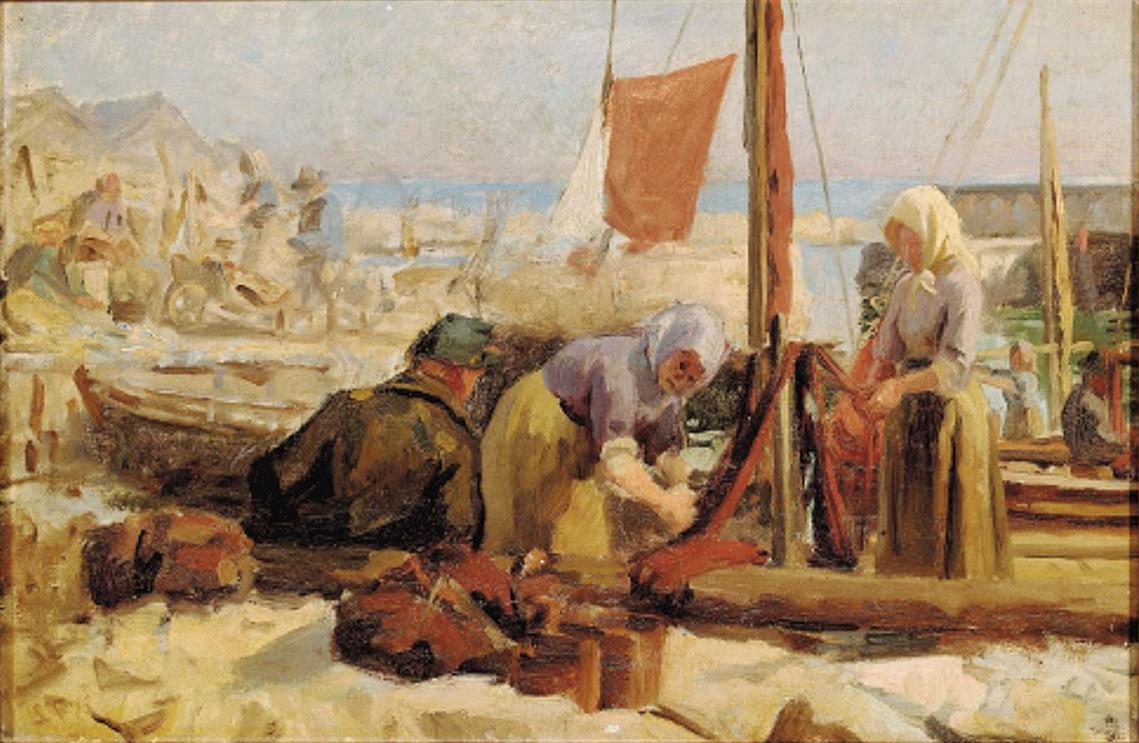Laurits Tuxen - Fransk kystparti med fiskerkoner, der ordner garn - 1876.png