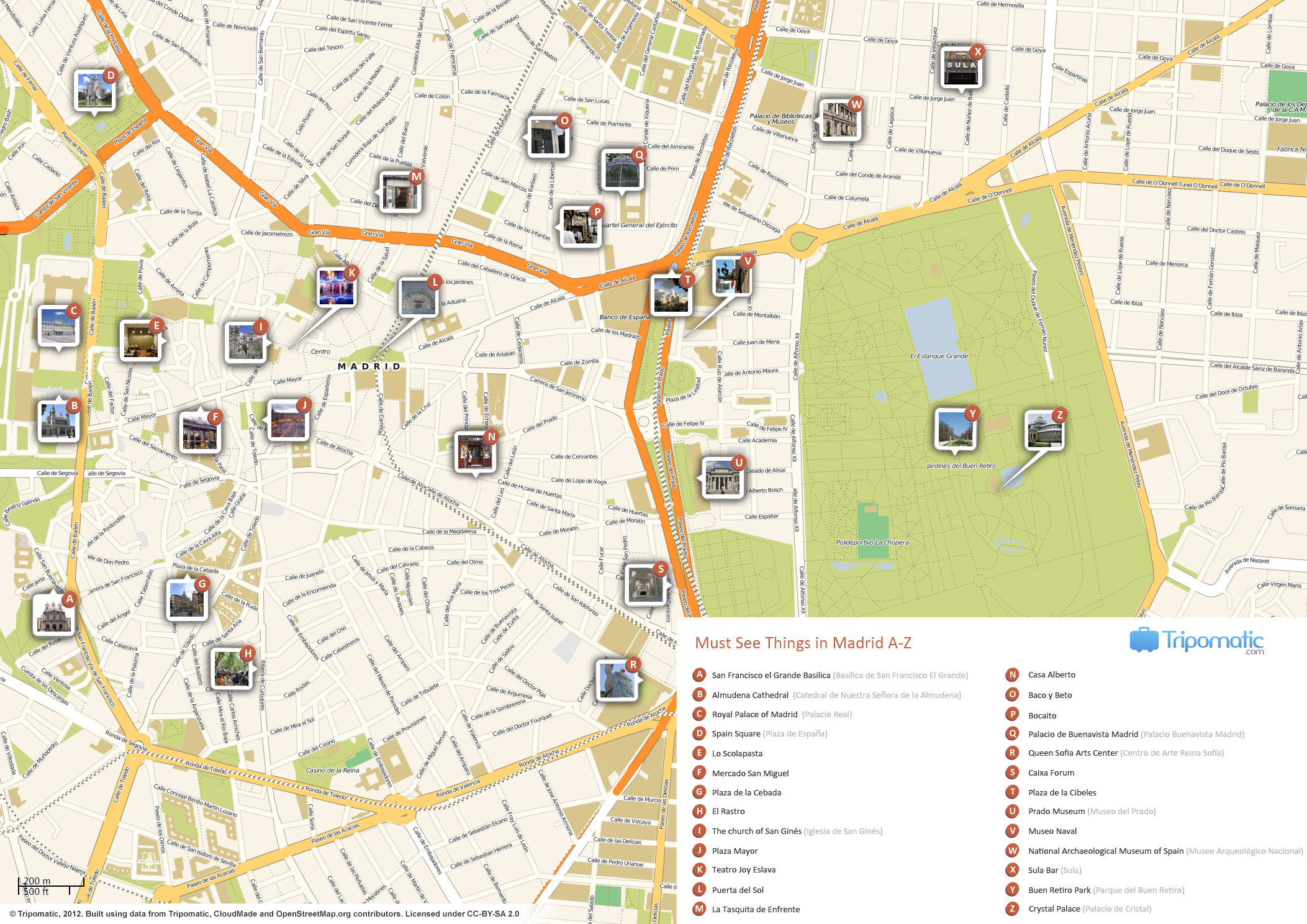Madrid Printable Tourist Attractions Map