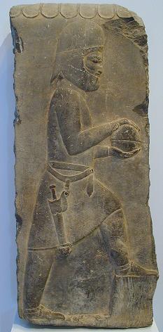یک مادی بر دیوار کاخ خشایارشا در تخت جمشید که لباس مادی بر تن کردهاست.
